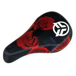 Седло BMX Federal Mid Pivotal Roses черно-красное с белым вышитым логотипом