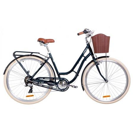 """Велосипед 28"""" Dorozhnik CORAL 14G Vbr Al с багажником зад St, с крылом St, с корзиной Pl 2019"""