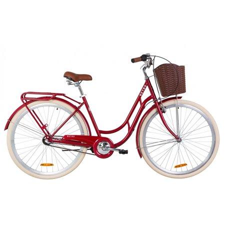 """Велосипед 28"""" Dorozhnik RETRO 14G планет. St с багажником зад St, с крылом St, с корзиной Pl 2019"""